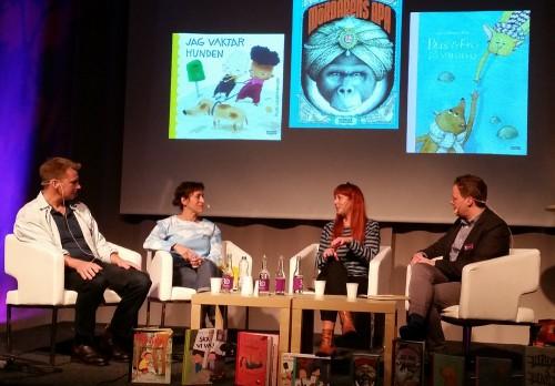 Författara och illustratörerna på scen