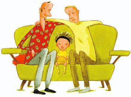 Lill-Zlatan med morbror och Steve i en soffa