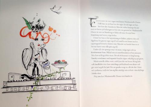 """Uppslag i boken """"Boken om Mademoiselle Oiseau""""."""