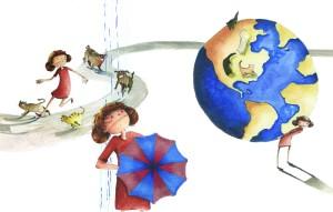 Jordgloben och paraplyet